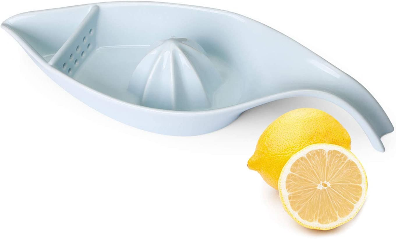 SWEEJAR Ceramic Citrus Juicer, Stoneware Lemon Squeezer with Boat Shape, Manual Fruit Reamer, (Turquoise)
