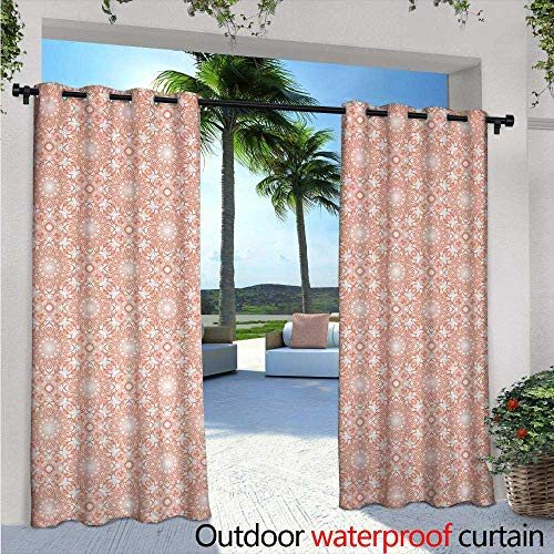 BlountDecor Coral Indoor/Outdoor Single Panel Print Window Curtain W84 x L84 Artistic Flourish Embroidery Pattern Ethnic Mandala Motifs Classical Fashionable Silver Grommet Top Drape Coral White ()
