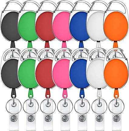 mosquet/ón carrete con clips para llaveros y tarjetas de identificaci/ón de 7 colores Paquete de 7 soportes retr/áctiles para insignia varios colores