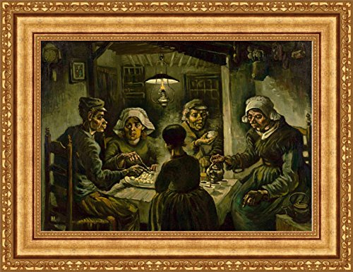 (Vincent van Gogh The Potato Eaters Framed Canvas Giclee Print - Finished Size (W) 28.1'' x (H) 21.6'' [Gold])