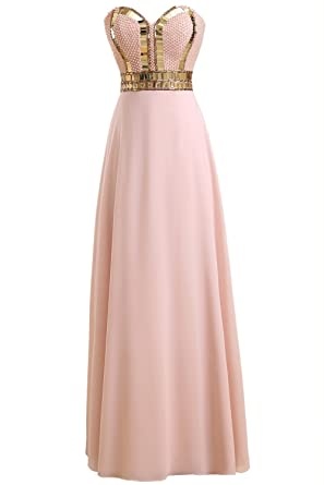 Callmelady Sweetheart Chiffon Prom Dresses Long Evening Gowns For Women With Pearls (Pink, UK4
