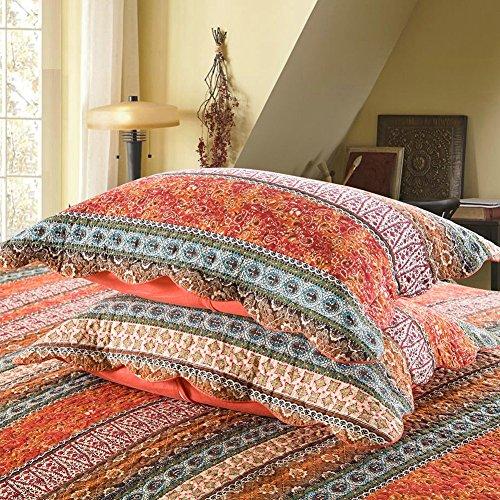Jacquard Standard Sham (mixinni Red Bohemian Style Jacquard Style Cotton Linen Standard Quilt Shams 2 Pieces 20