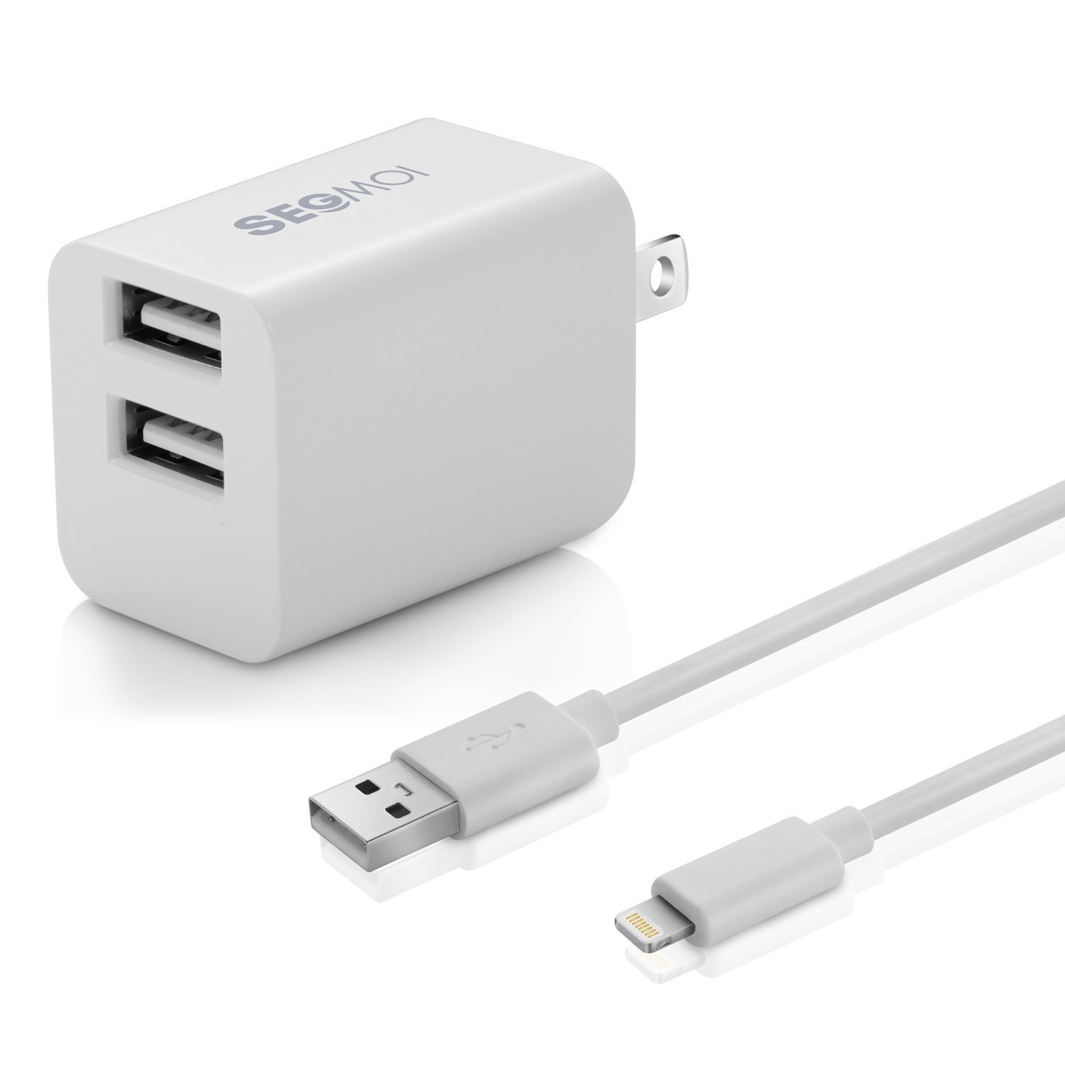 2in1 [ Apple MFi Certified ] 10Ft Lightning Cable/Cord + 5V/2.4A Dual Port USB Wall Plug Charger Block/Charging Cube/Brick/Box Power Adapter For iPhone XS Max XR X 8 Plus 7 6s 6 5s 5 iPad Air Pro Mini
