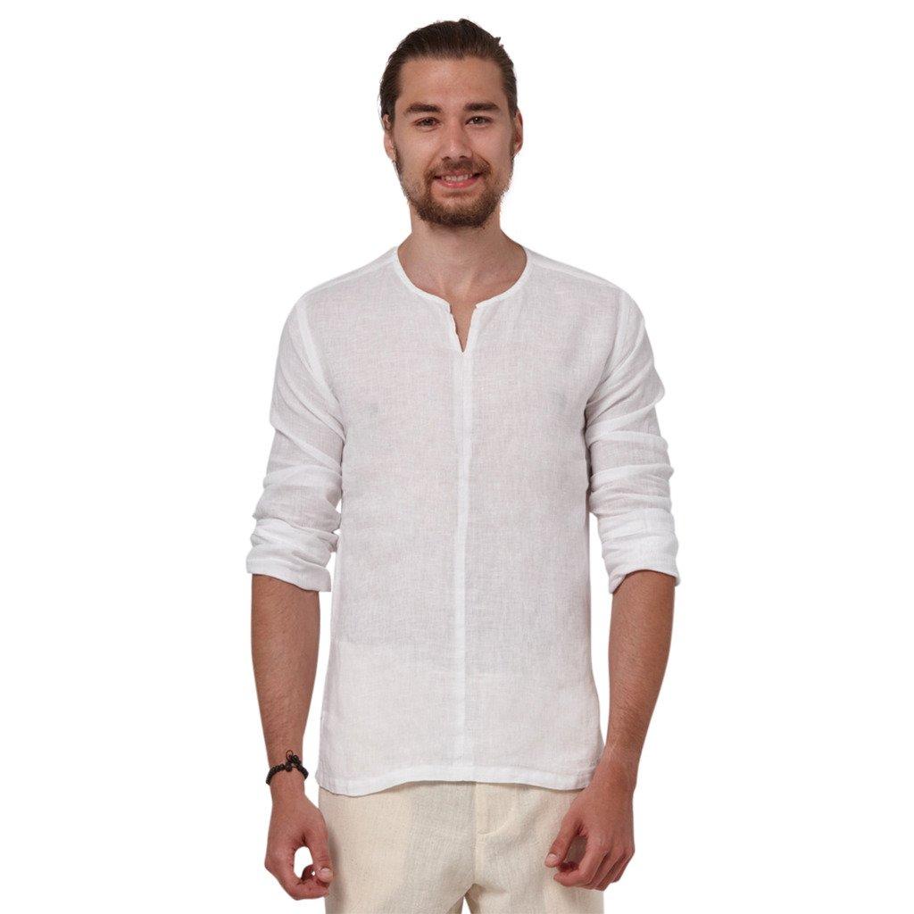 Liash Stylish Linen Shirts For Men Collarless Casual Shirt For Men