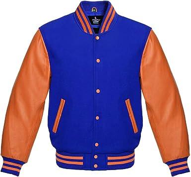 New Super Varsity Letterman Baseball Jacket Green Body /& Orange Leather Sleeves