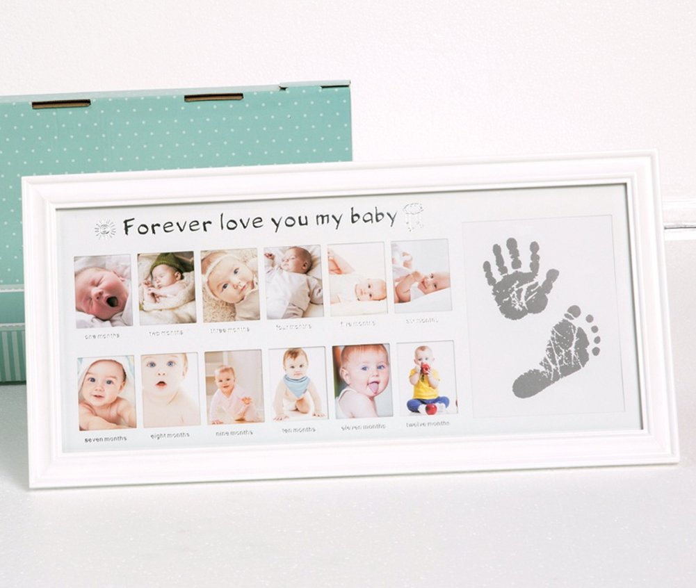 Baby Photo Frame, MY FIRST YEAR Birthday Infant Baby Wooden Picture Frame New Born Shower Multi Aperture Collage Photo Frame with 12 Opening Standing Hanging Photograph Frame Baby Moments Keepsake for Baby Birthday,Christenings,Parents Gift on Mother's Day