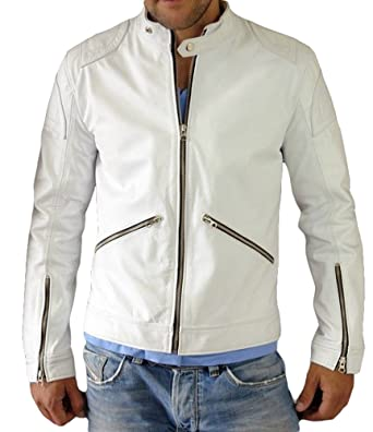Exemplar Mens Genuine Lambskin Leather Jacket Slim fit Coat White KL758 3XL