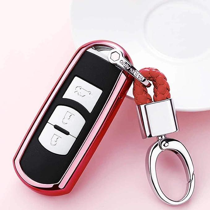 Rojo Funda de TPU Suave para Llave + Llavero para Coche Mazda 3 5 6 CX-3 CX-5 CX-7 CX-9 MX-5 Miata 3/4 Buttons