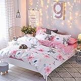 KingKara Pink Flower Garden Princess Duvet Cover Set with 1 Pillow Shams for Kids Cotton Blend Floral Pattern 3 Piece Bedding Set (Twin)