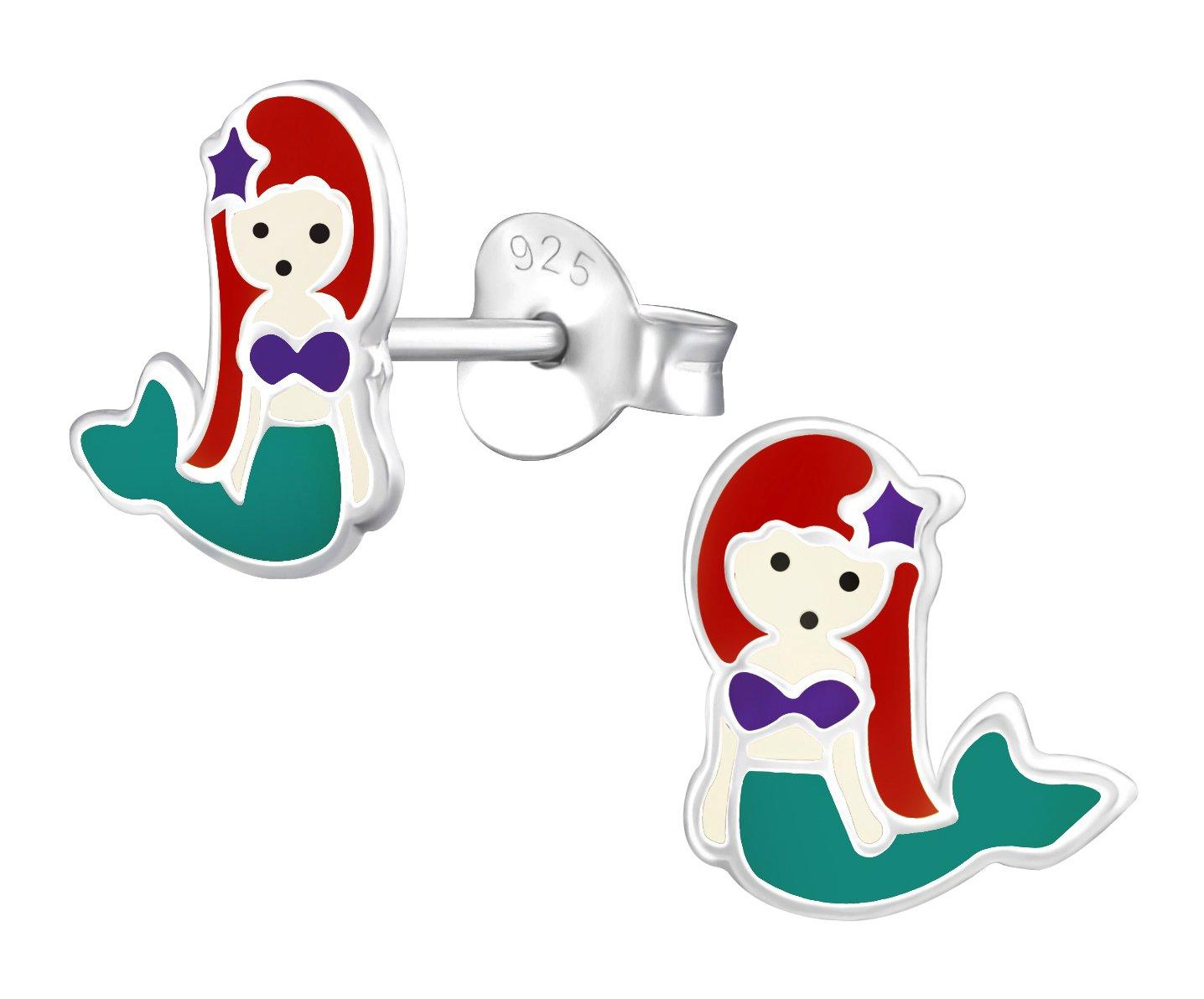 Best Wing Jewelry .925 Sterling Silver ''Mermaid'' Children's Stud Earrings by Best Wing Children's Earrings (Image #1)