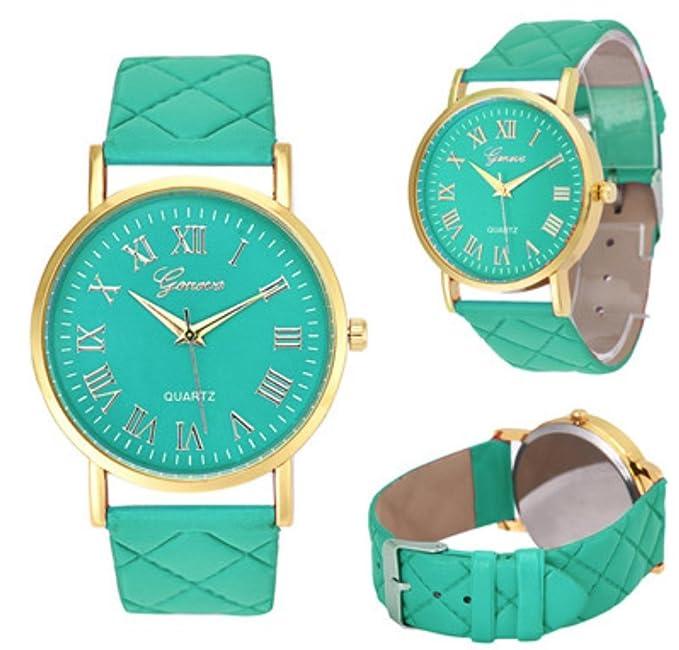 Relojes de moda low cost para mujeres elegantes con correa de falso cuero y Relojes Low