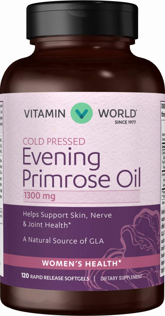 Vitamin World Evening Primrose Oil 1300 mg. 120 Softgels, Supports Skin, Nerve, Joint Health, Natural Source of GLA, Rapid-release, Gluten Free