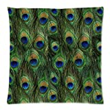 """Vintage Elegant Color Charming Beautiful Peacock Bird Tail Feathers Decorative Pattern Personalized Custom Cotton & Polyester Soft Square Zippered Pillow Case Cover 18""""X18""""(Two Sides) - Cushion Throw Decorative Pillowcase For Sofa Or Bed"""