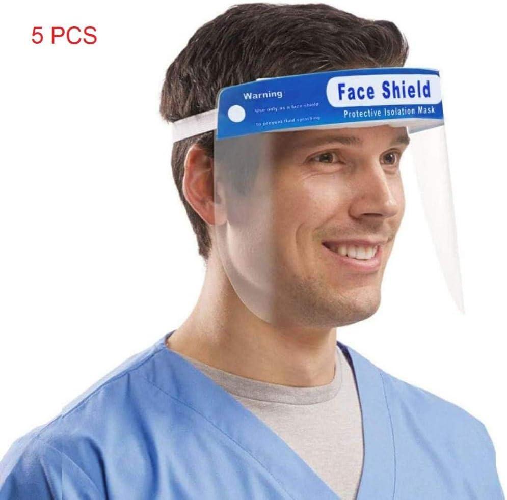 Viseras de Plastico,Aceite de Doble Cara Anti-Fog Anti Splash Transparente,Viseras de Proteccion Cara con una Esponja Suave y Duradera,Máscara Facial Visera, Ojo Protección,5 tabletas