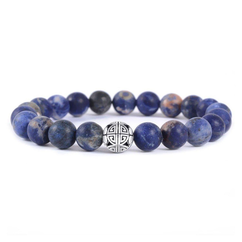 MetJakt Natural 8mm Gemstones Healing Crystal Stretch Beads Bracelet Bangle 925 Silver Double Happiness Pendant (Sodalite)