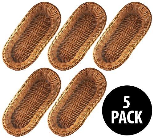 KOVOT Poly-Wicker Bread Baskets Set of 5 - 14.5'' Woven Polypropylene (5 Total Baskets) by Kovot