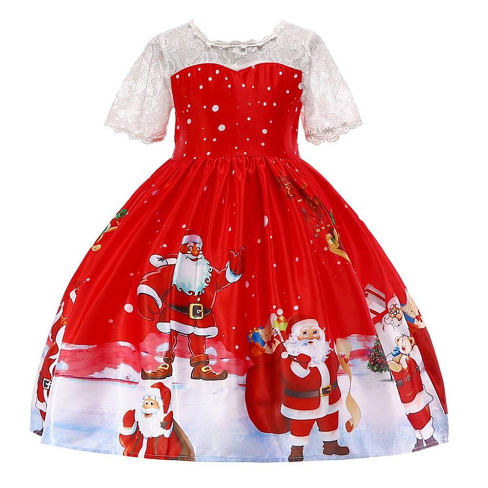 Toddler Girls Christmas Costume Dress Santa Print Princess Party Dress