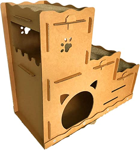 Seny Cardboard Cat House with Cat Scratcher