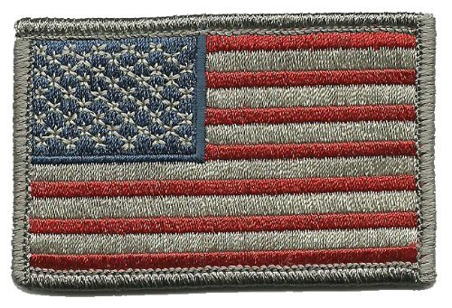 Fixxxer USA Flag - Tactical Patch - Subdued Silver, Hook and