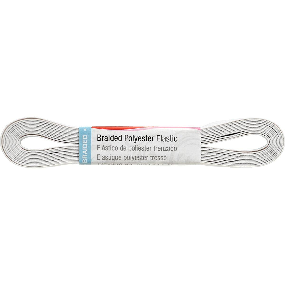 Singer Braided Elastic, White, 6-Yard by 3/8-Inch 70082