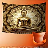 SOCOMIMI Hippy Mandala Bohemian Tapestries,thai golden buddha on oriental gold ornament texture background Psychedelic Tapestry Wall Decorative Tapestry(59W x 39.3L INCH)