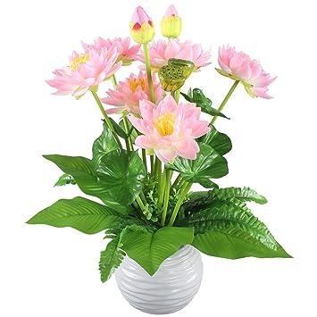 Hogado Artificial Flowers Peach Silk Lotus Bouquet Floral Arrangements  Centerpieces Home Kitchen Tabletop Aquarium Fish Tank