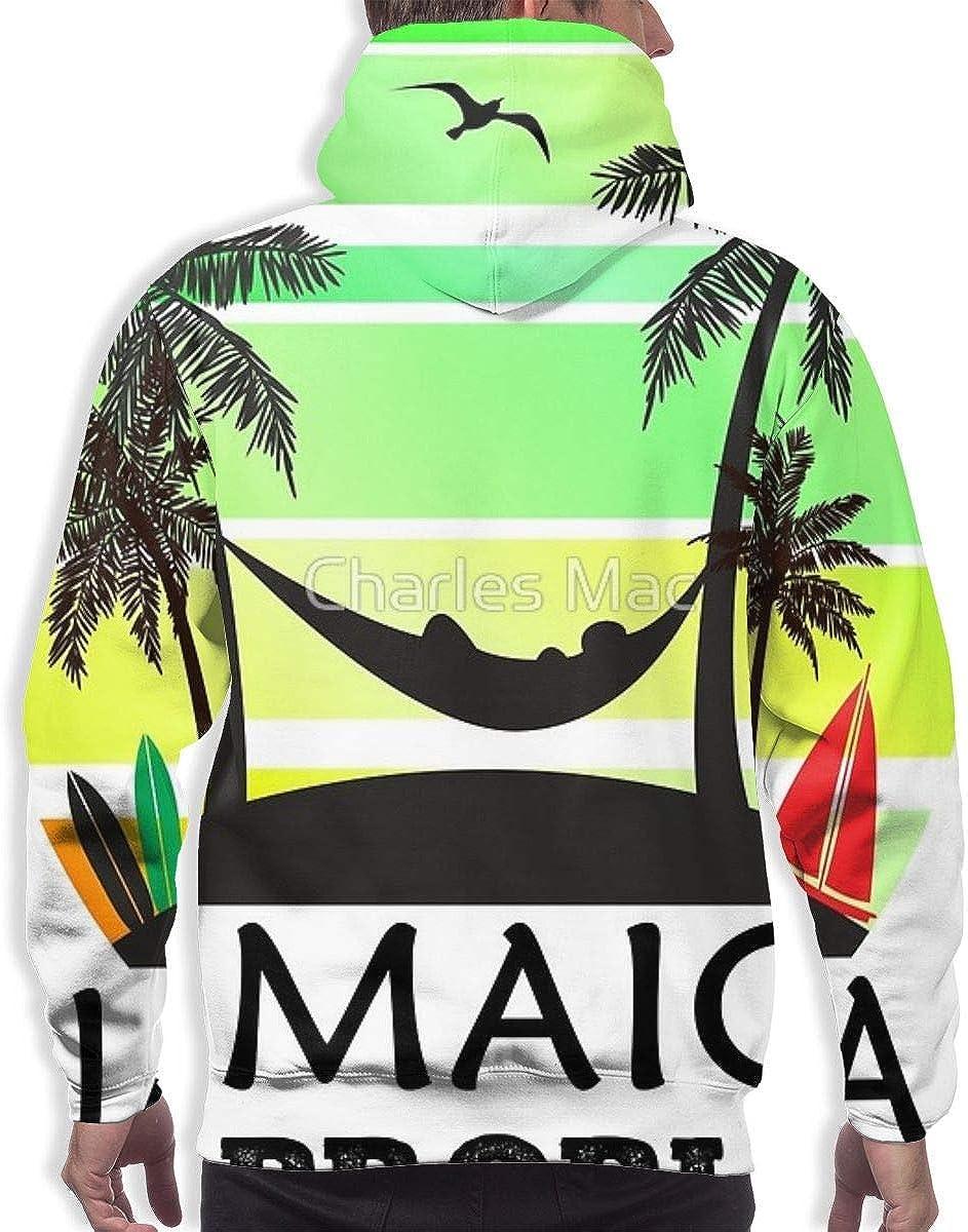 Mens Long Sleeves Hoodies Sweatshirts Fit Streetwear Coconut Tree Reggae Color Jamaican