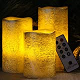 Battery Operated LED Flameless Candles - Set of 3 Round Rustic Gold Coated Ivory Wax with Amber yellow Flame Flickering LED Candles, auto-off Timer Remote Control by LED Lytes Flameless Candles
