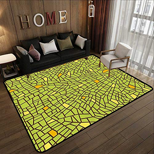 Printed Carpet,Green,Conceptual Stained Glass Design Mosaic Pavement Cracked Like Pieces,Apple Green Mustard Brown 59