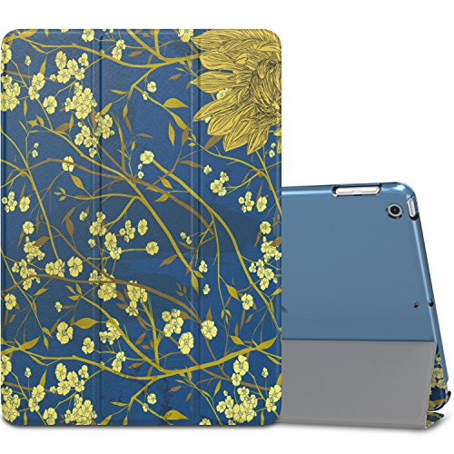 MoKo Case Fit iPad 9.7 5th/6th Generation - Slim Lightweight Smart Shell Stand Cover with Translucent Frosted Back Protector Fit Apple iPad 9.7 Inch 2018/2017, Flowers (Auto Wake/Sleep)