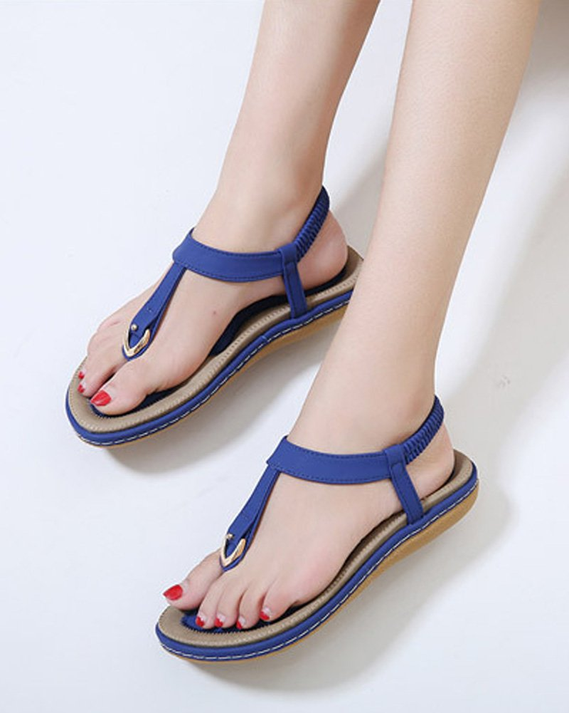 Maybest Ladies Style Flat Sandals- Women Summer Roman Sandals Comfy Shoes Blue US 7 by Maybest (Image #3)