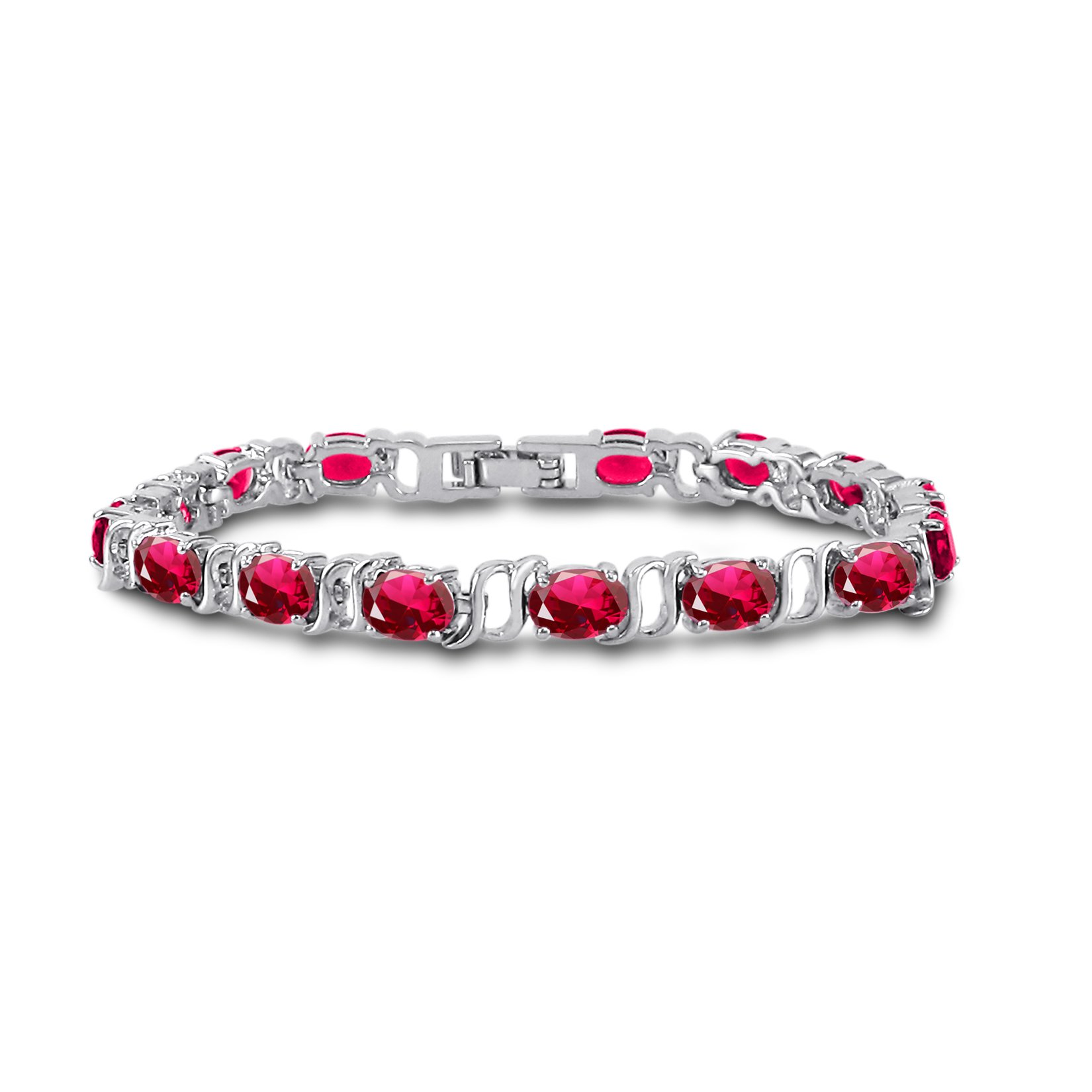 Silver Plated Brass Oval Cut Simulated Red Ruby Tennis Bracelet 7 inch