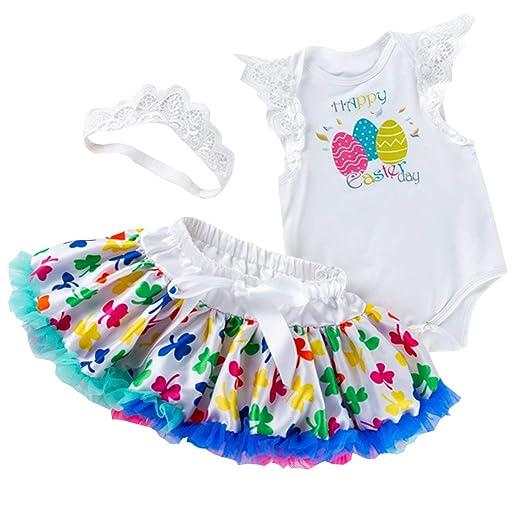 4085da03bd775 IBTOM CASTLE Baby Toddler Girls Happy My First Easter Day Outfits Dress  Romper + Tutu Skirt