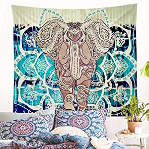 Jiamingyang Popular Indian Wall Hanging Elephant Flower Tapestry Psychedelic Bohemian Tapestries