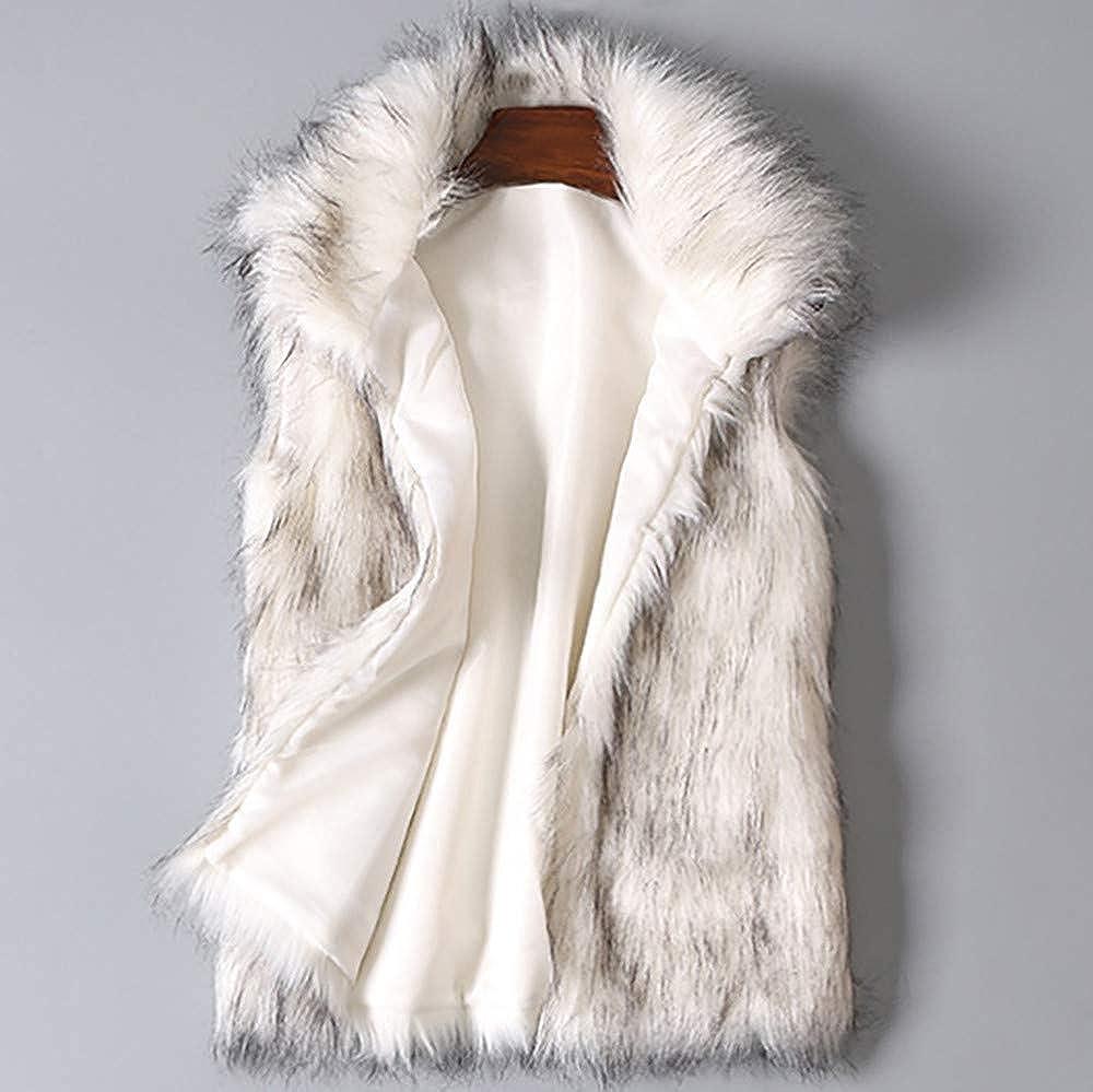 Gergeos Womens Faux Fur Vest Winter Sleeveless Faux Fur Coat Ladies Waistcoat Jacket