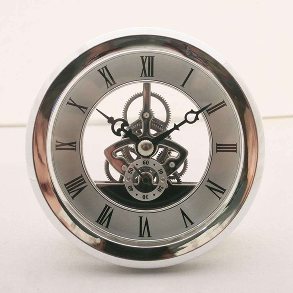 Fityle 4 Pieces Clear Skeleton Insert Clock Movement Quartz Battery Fit Up 91mm Silver Roman Dial by Fityle (Image #8)