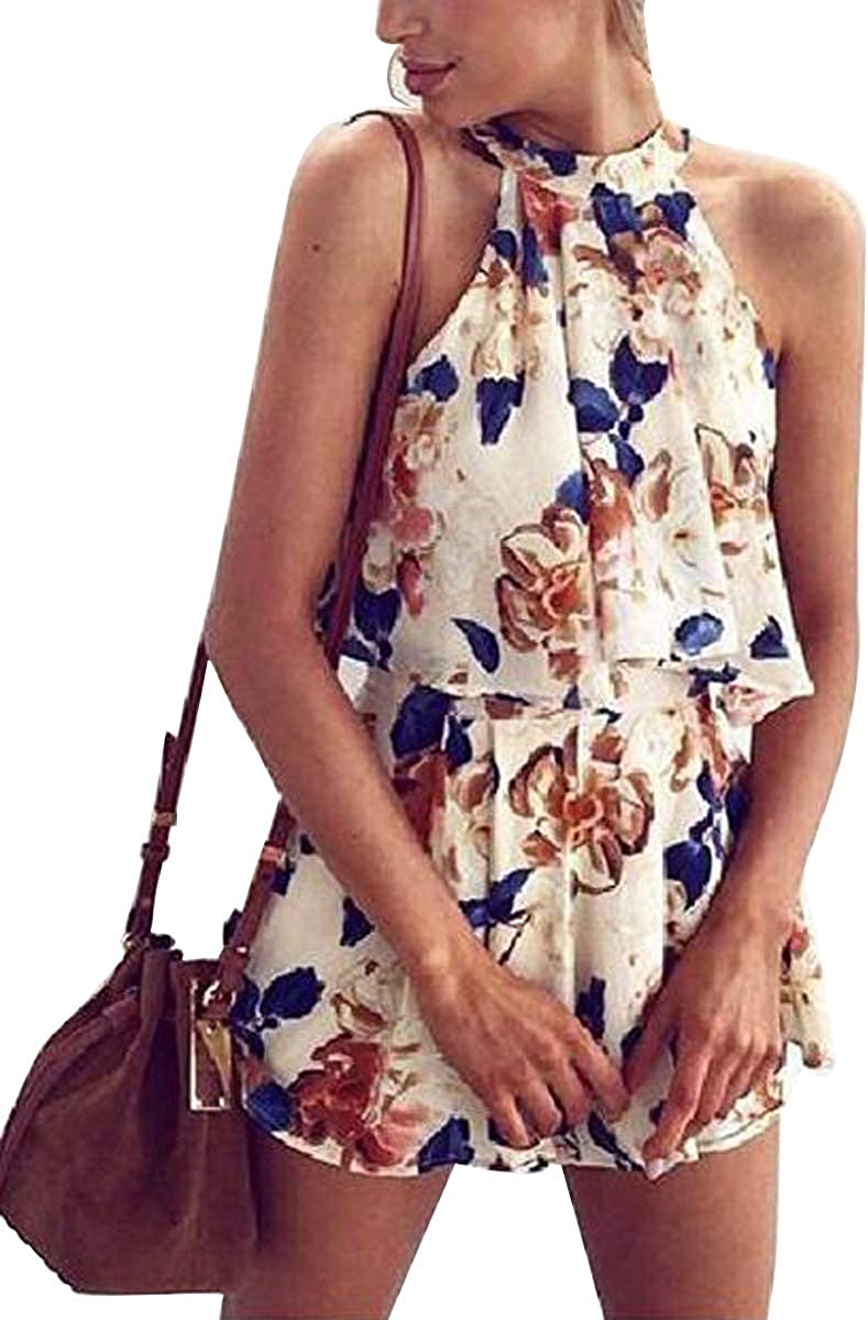 Womens Halter Sleeveless Strap Playsuit Floral Print Short Jumpsuit 2 Piece Outfits