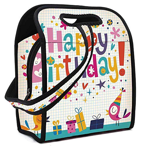 Birthday Decorations for Kids Portable Neoprene Lunch Bag,School Math Note Pad Floral Rainbow Colored Party Quote Print for Work Office Picnic Travel Mom Bag,Square(8.5''L x 5.5''W x 11''H) ()
