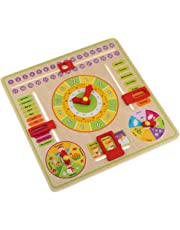 MagiDeal Montessori Early Education Toy Wooden Clock Puzzle Board for Kids/ Children