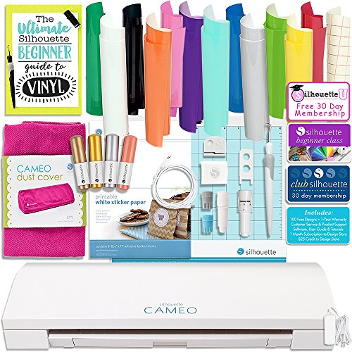Silhouette Cameo 3 Bundle with 12x12 Oracal 651 Sheets, Dust Cover, Etching Tool, Sketch Pens, Pen Holder, -Class, Guide, and More by Silhouette
