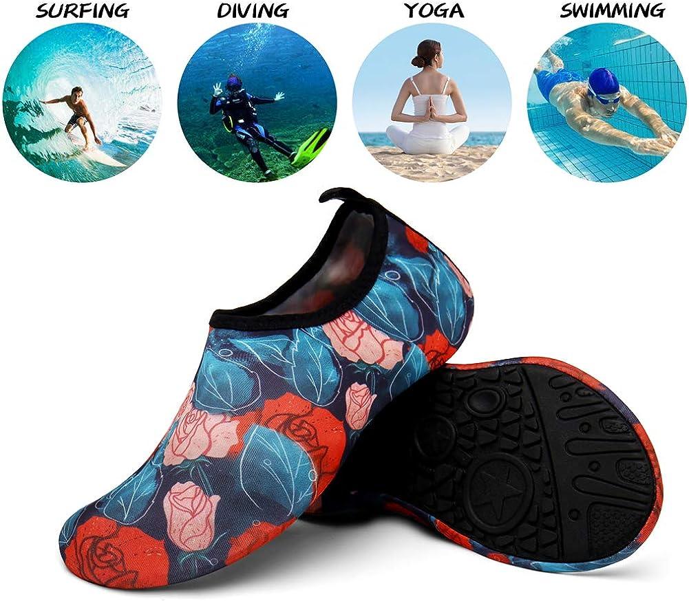 UBFEN Badeschuhe Wasserschuhe Schwimmschuhe Aquaschuhe Barfu/ßschuhe Strandschuhe Schnell Trocknend Surfschuhe Yoga f/ür Damen Herren