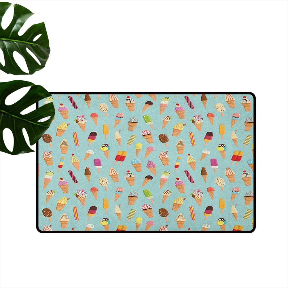 color09 W19 x L31  Ice Cream Interior Door mat Mint Ice Lollies with Little Purple Dots and colorful Triangles Kids Pattern Anti-Fading W31 x L47 Multicolor