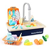 BOBXIN Play Sink with Running Water, Kids Play Kitchen Toy Sink Electronic Dishwasher, Pretend Role Play Kitchen Toys Set wit