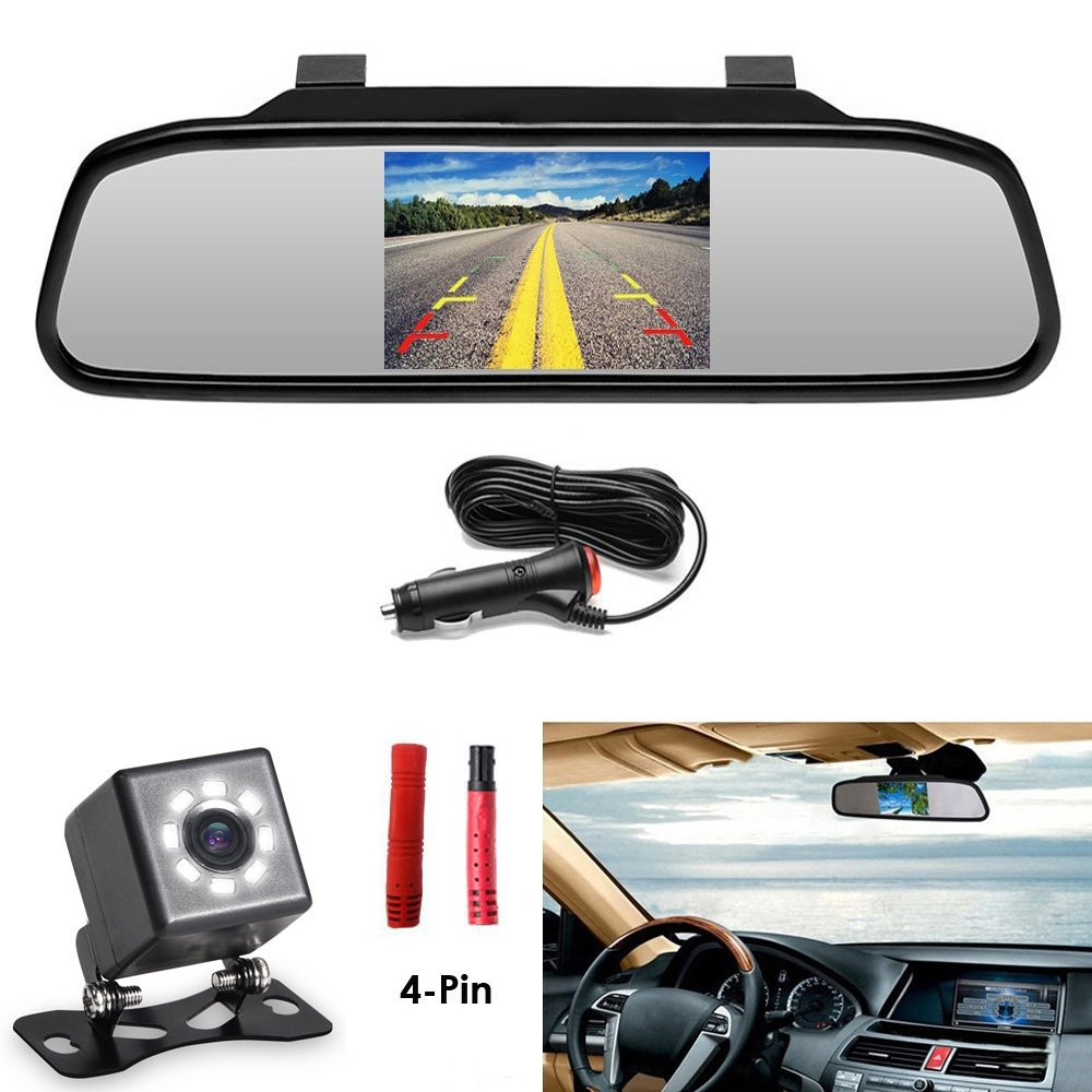 Universal Screw Mount Backup Camera Reverse Parking System IR Night Vision Cocar Wireless Car Auto 4.3 inch LCD TFT Rear View Mirror Mount Monitor