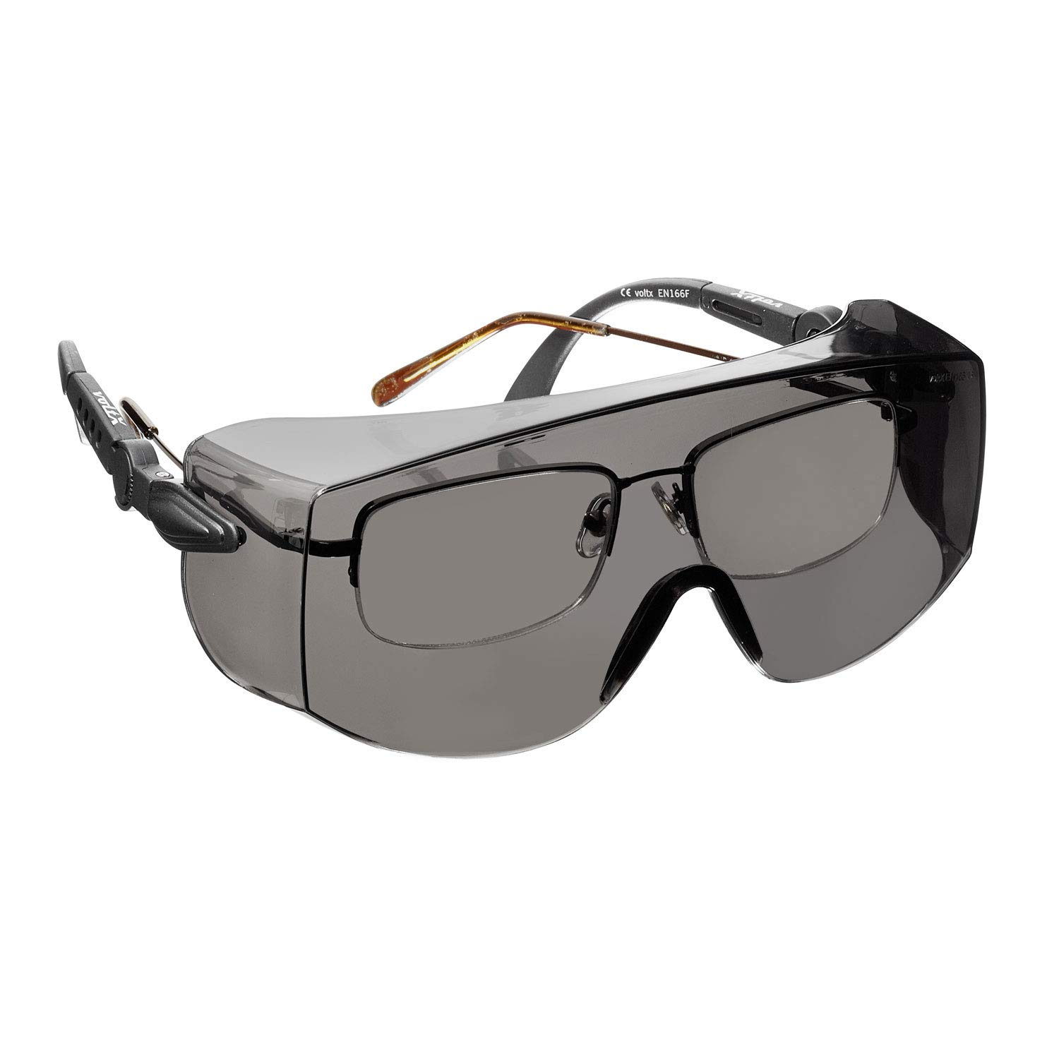 voltX 'OVERSPECS' Large Size, Industrial Safety Over Glasses - CE EN166f certified (Smoke Lens) - individually adjustable temples - antifog, scratch resistant, UV385 protection StraightLines Others