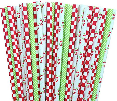Cherry Lime Green and Red Checked Paper Straw Combo-Party Supply Birthday Picnic Party Supply 100% Biodegradable-7.75 Inches-Pack of 75