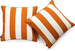 """Hofdeco Decorative Throw Pillow Cover ONLY Indoor Outdoor Water Resistant Canvas Maple Orange Stripes 18""""x18"""" Set of 2"""