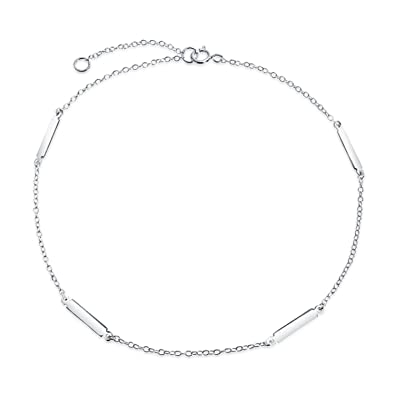 d1e5b173fe6 Simple Plain Bar and Link Chain Anklet Charm Hot Wife Ankle Bracelet 925  Sterling Silver Adjustable 9 to 10In Extendef: Amazon.ca: Jewelry