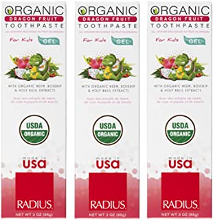 product image for RADIUS USDA Kids Organic Toothpaste - 3 Pack in Dragon Fruit, Non Toxic, Designed to Improve Gum Health, For Children 6 Months and Up