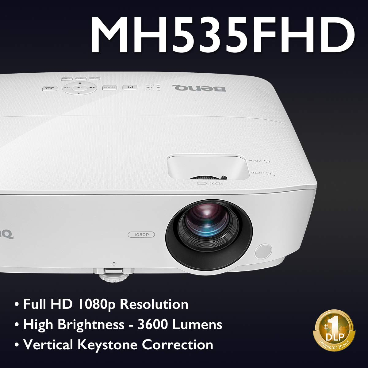 BenQ MH535FHD 1080P Home Theater Projector | 3600 Lumens for Lights on  Enjoyment | High Contrast Ratio for Darker Blacks | Keystone and 1 2x Zoom  for